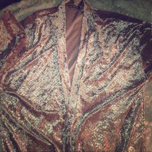 Laser Cut Velvet Charlotte Russe Kimono Robe